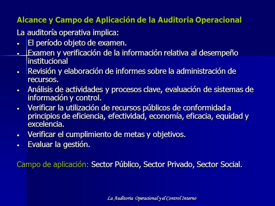 La Auditoria Operacional y el Control Interno Alcance y Campo de Aplicación de la Auditoria Operacional Alcance y Campo de Aplicación de la Auditoria