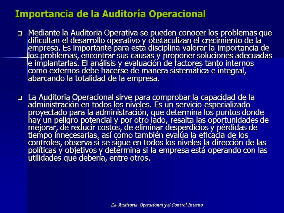 La Auditoria Operacional y el Control Interno Importancia de la Auditoría Operacional Mediante la Auditoria Operativa se pueden conocer los problemas
