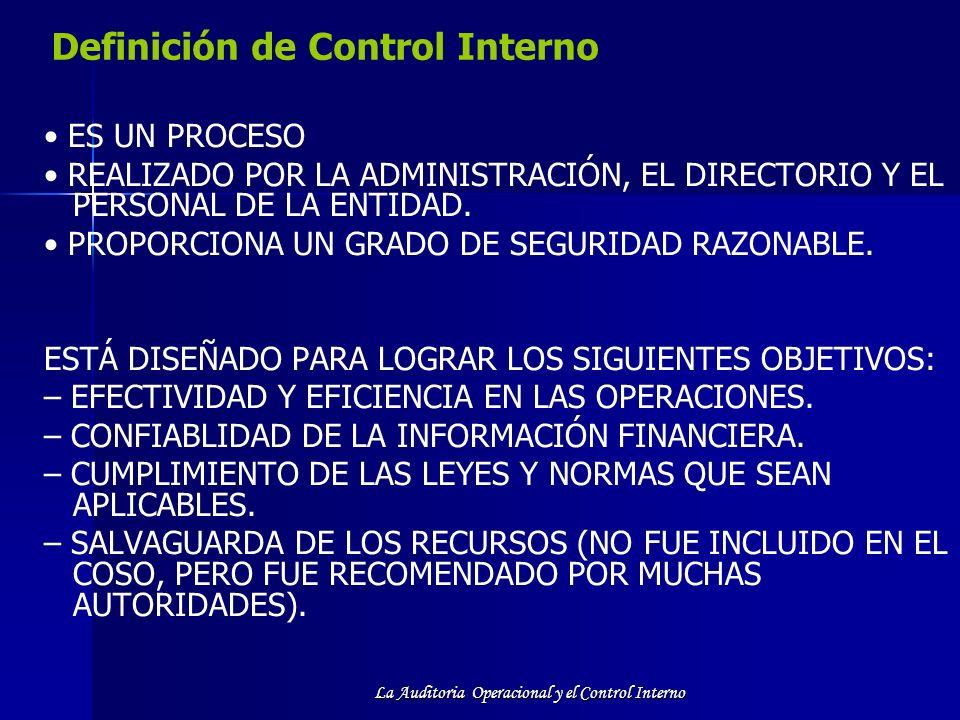 La Auditoria Operacional y el Control Interno Definición de Control Interno ES UN PROCESO REALIZADO POR LA ADMINISTRACIÓN, EL DIRECTORIO Y EL PERSONAL