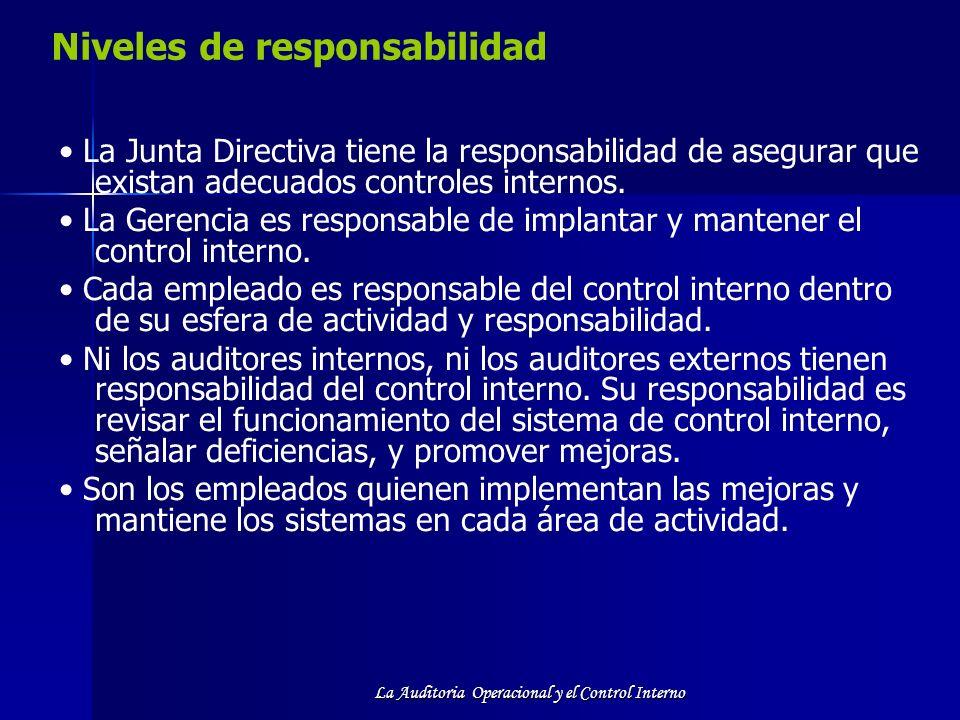 La Auditoria Operacional y el Control Interno Niveles de responsabilidad La Junta Directiva tiene la responsabilidad de asegurar que existan adecuados