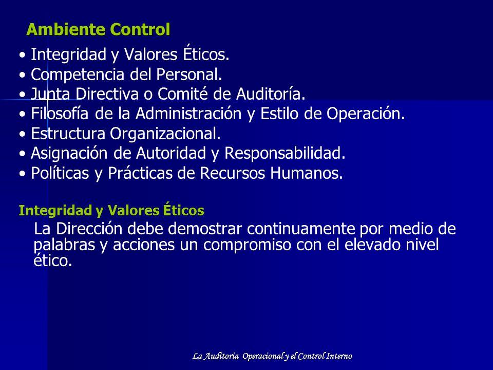 La Auditoria Operacional y el Control Interno Ambiente Control Integridad y Valores Éticos. Competencia del Personal. Junta Directiva o Comité de Audi