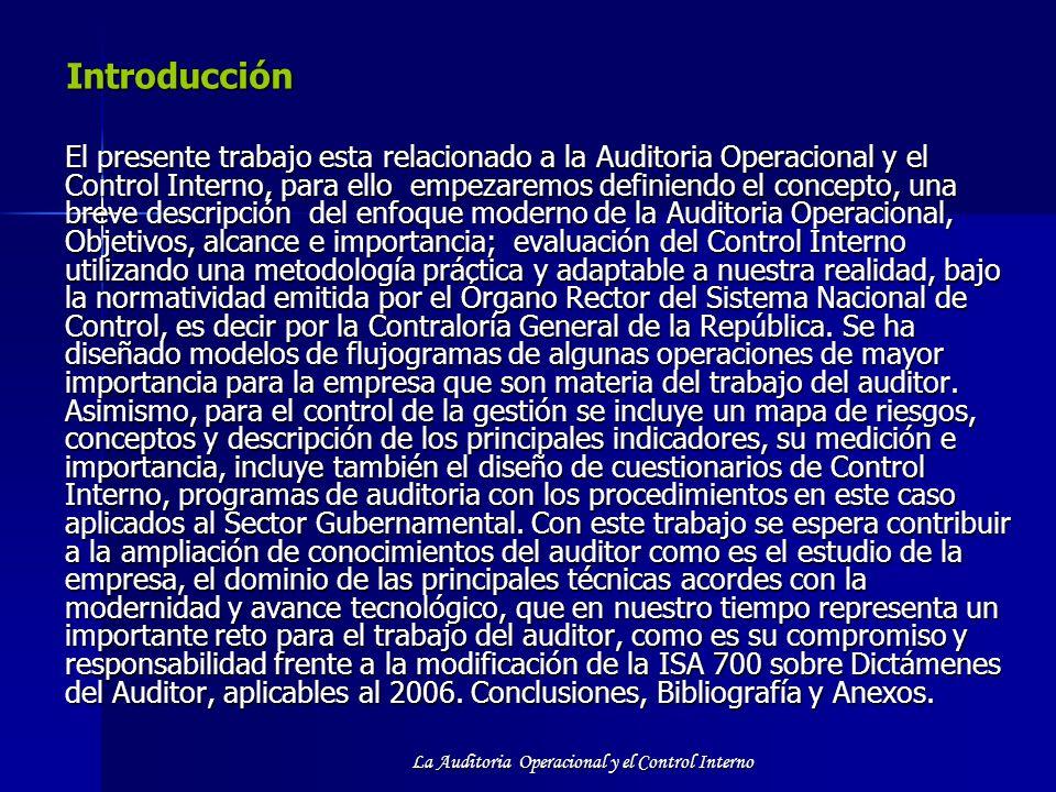 La Auditoria Operacional y el Control Interno Introducción Introducción El presente trabajo esta relacionado a la Auditoria Operacional y el Control I