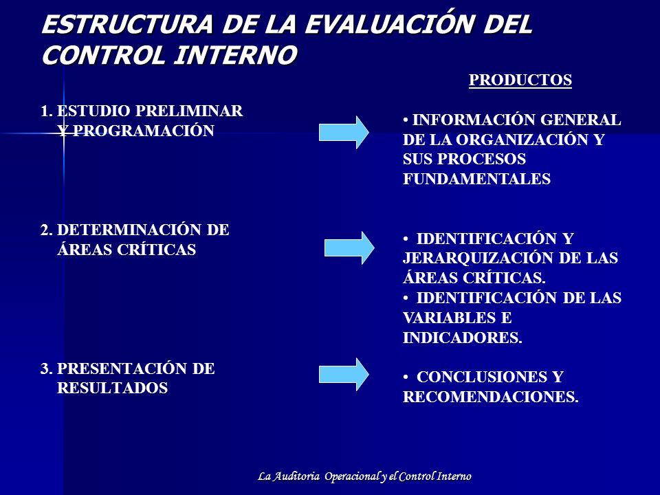 La Auditoria Operacional y el Control Interno ESTRUCTURA DE LA EVALUACIÓN DEL CONTROL INTERNO 1. ESTUDIO PRELIMINAR Y PROGRAMACIÓN 2. DETERMINACIÓN DE