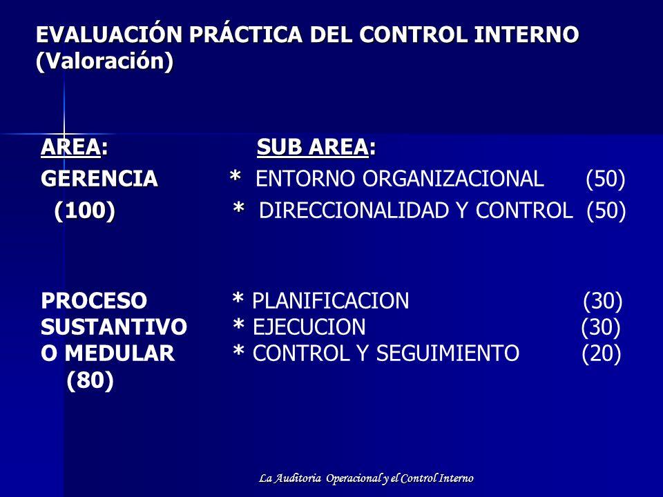 La Auditoria Operacional y el Control Interno EVALUACIÓN PRÁCTICA DEL CONTROL INTERNO (Valoración) AREA: SUB AREA: GERENCIA * GERENCIA * ENTORNO ORGAN