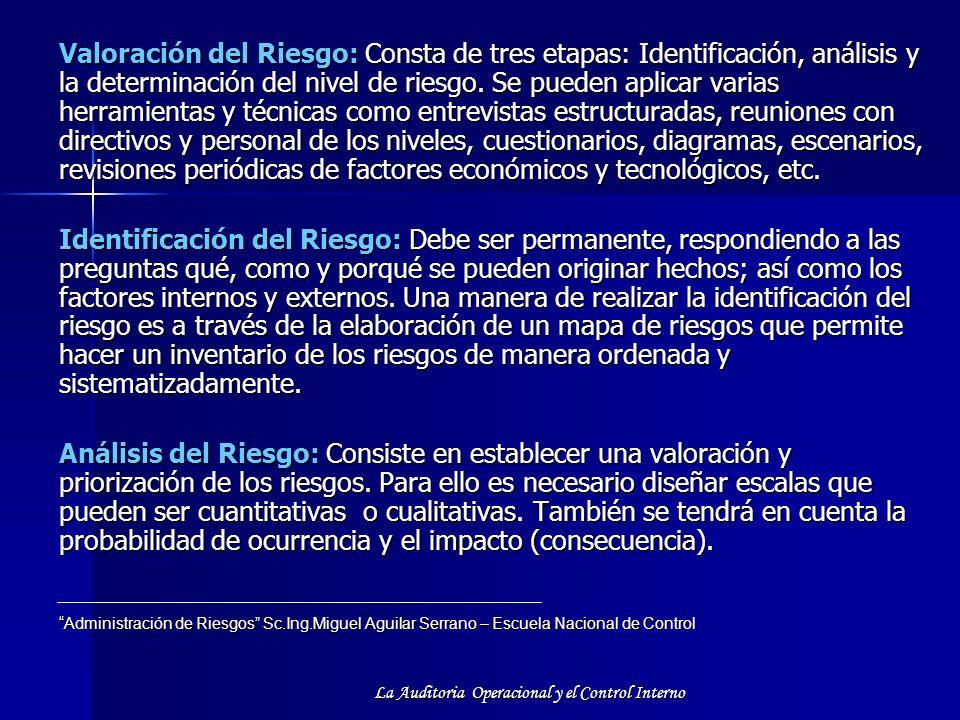 La Auditoria Operacional y el Control Interno Valoración del Riesgo: Consta de tres etapas: Identificación, análisis y la determinación del nivel de r