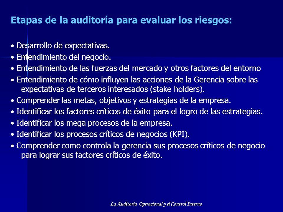 La Auditoria Operacional y el Control Interno Etapas de la auditoría para evaluar los riesgos: Desarrollo de expectativas. Entendimiento del negocio.