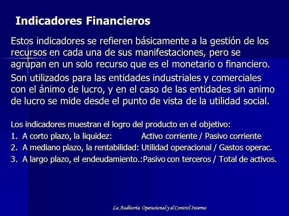 La Auditoria Operacional y el Control Interno Indicadores Financieros Estos indicadores se refieren básicamente a la gestión de los recursos en cada u