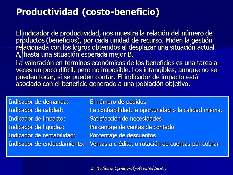 La Auditoria Operacional y el Control Interno Productividad (costo-beneficio) El indicador de productividad, nos muestra la relación del número de pro