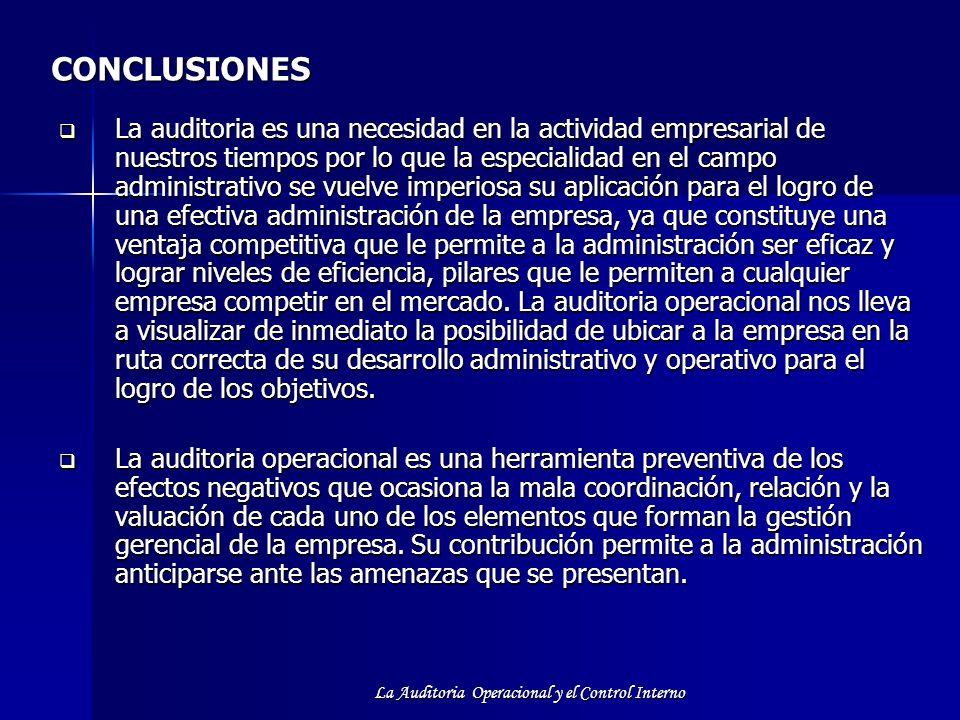 La Auditoria Operacional y el Control Interno CONCLUSIONES La auditoria es una necesidad en la actividad empresarial de nuestros tiempos por lo que la