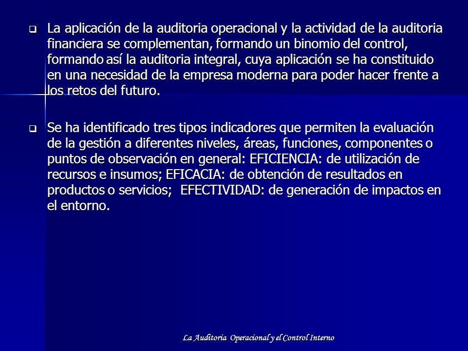 La Auditoria Operacional y el Control Interno La aplicación de la auditoria operacional y la actividad de la auditoria financiera se complementan, for