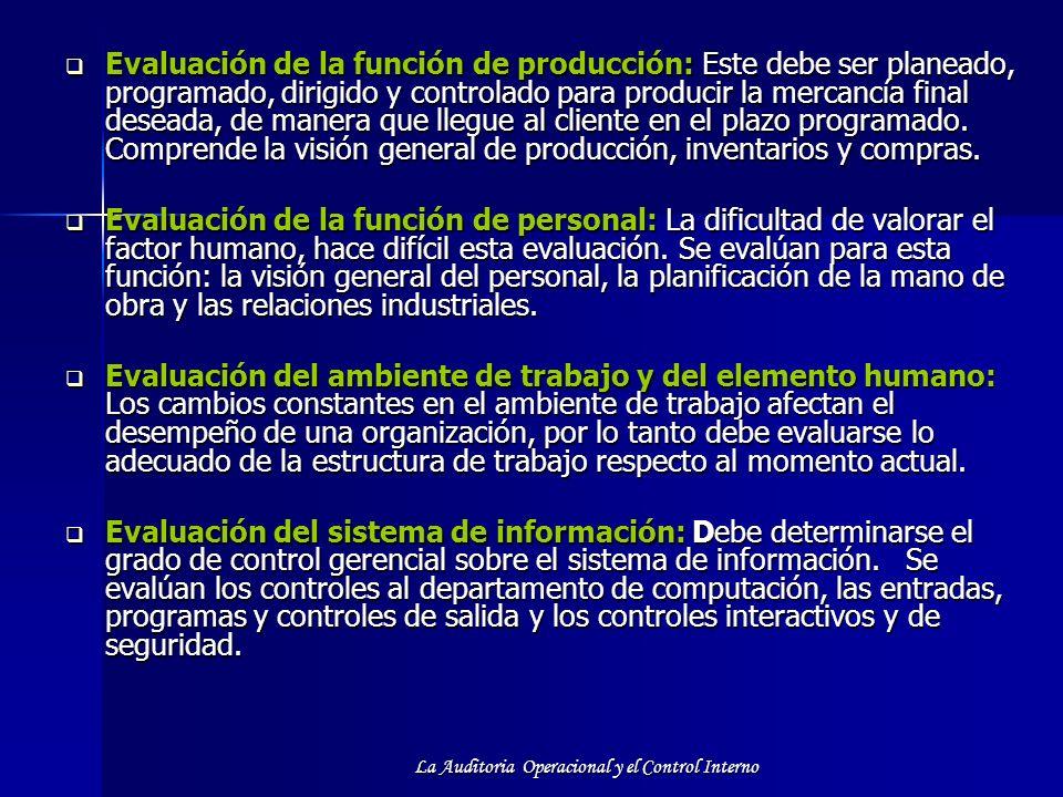 La Auditoria Operacional y el Control Interno Evaluación de la función de producción: Este debe ser planeado, programado, dirigido y controlado para p