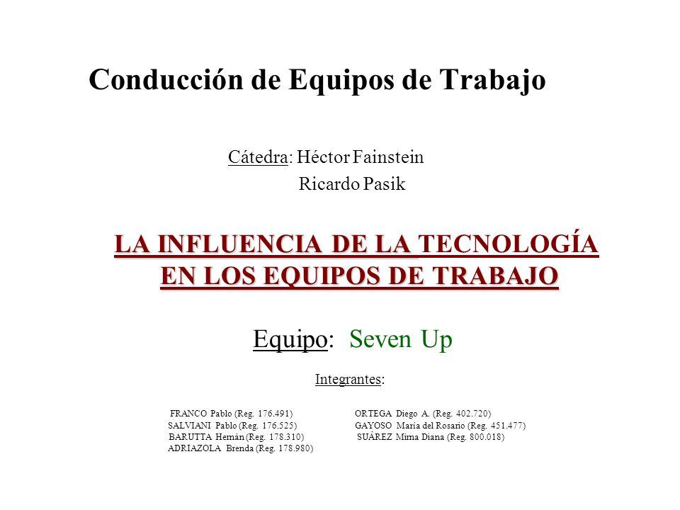 LA INFLUENCIA DE LA EN LOS EQUIPOS DE TRABAJO LA INFLUENCIA DE LA TECNOLOGÍA EN LOS EQUIPOS DE TRABAJO Equipo: Seven Up Integrantes: FRANCO Pablo (Reg
