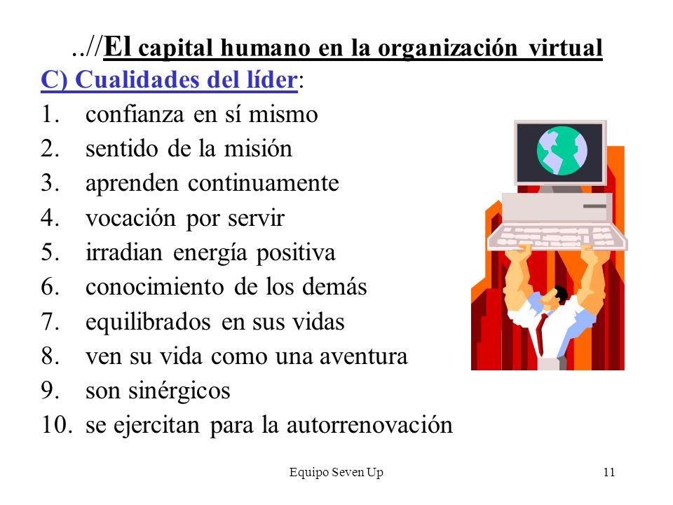 Equipo Seven Up11..//El capital humano en la organización virtual C) Cualidades del líder: 1.confianza en sí mismo 2.sentido de la misión 3.aprenden c