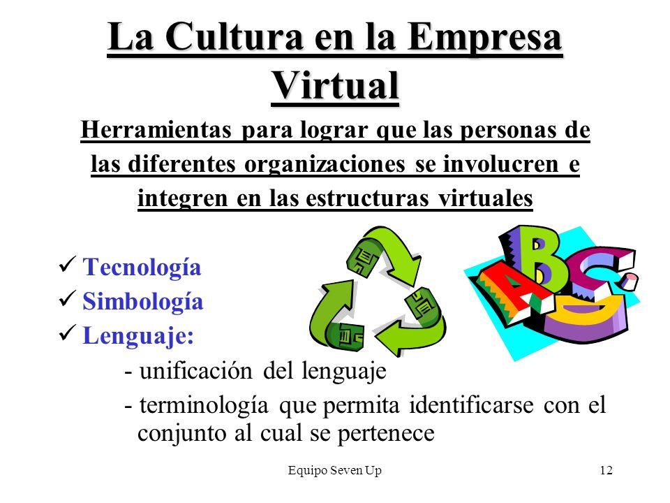 Equipo Seven Up12 La Cultura en la Empresa Virtual Herramientas para lograr que las personas de las diferentes organizaciones se involucren e integren