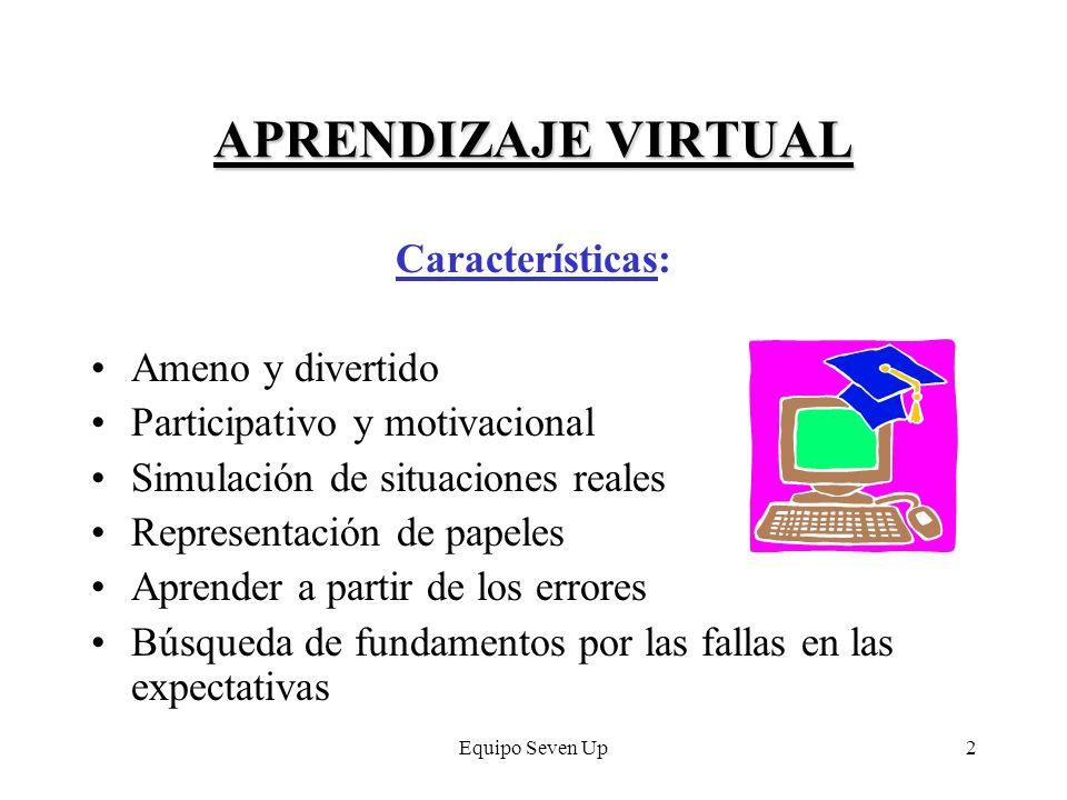 Equipo Seven Up2 APRENDIZAJE VIRTUAL Características: Ameno y divertido Participativo y motivacional Simulación de situaciones reales Representación d