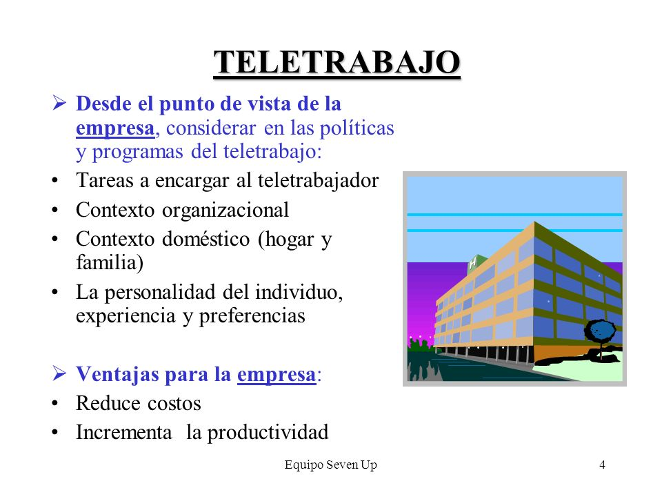 Equipo Seven Up4 TELETRABAJO Desde el punto de vista de la empresa, considerar en las políticas y programas del teletrabajo: Tareas a encargar al tele