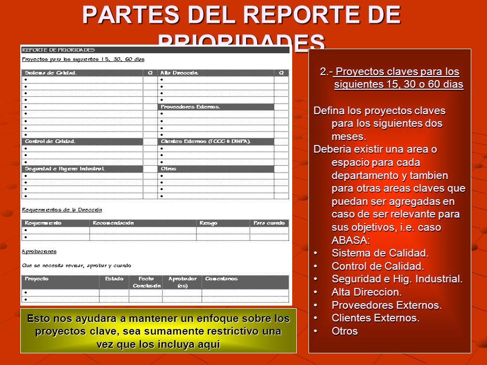 PARTES DEL REPORTE DE PRIORIDADES 2.- Proyectos claves para los siguientes 15, 30 o 60 dias Defina los proyectos claves para los siguientes dos meses.