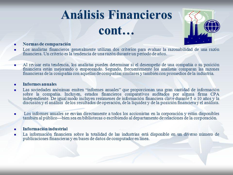 Análisis Financieros, cont… Un balance clasificado En un balance clasificado, generalmente los activos son presentados en tres grupos (1) activos corr