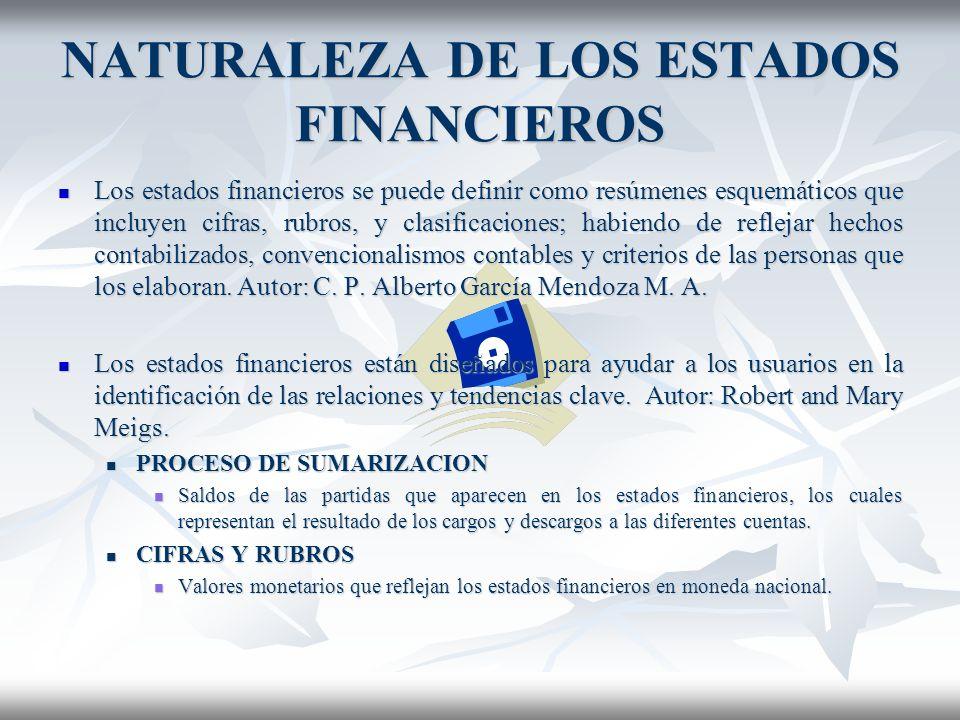 NATURALEZA DE LOS ESTADOS FINANCIEROS Los estados financieros se puede definir como resúmenes esquemáticos que incluyen cifras, rubros, y clasificaciones; habiendo de reflejar hechos contabilizados, convencionalismos contables y criterios de las personas que los elaboran.