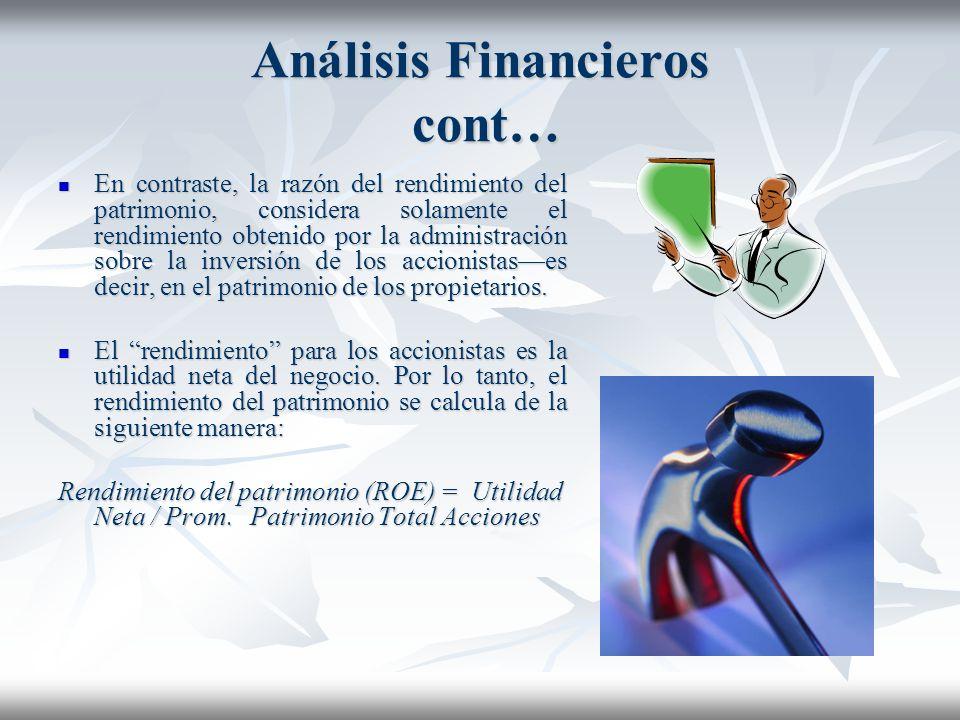 Análisis Financieros cont… Matemáticamente, el cálculo del rendimiento de la inversión es un concepto simple: el rendimiento anual (o la utilidad) gen