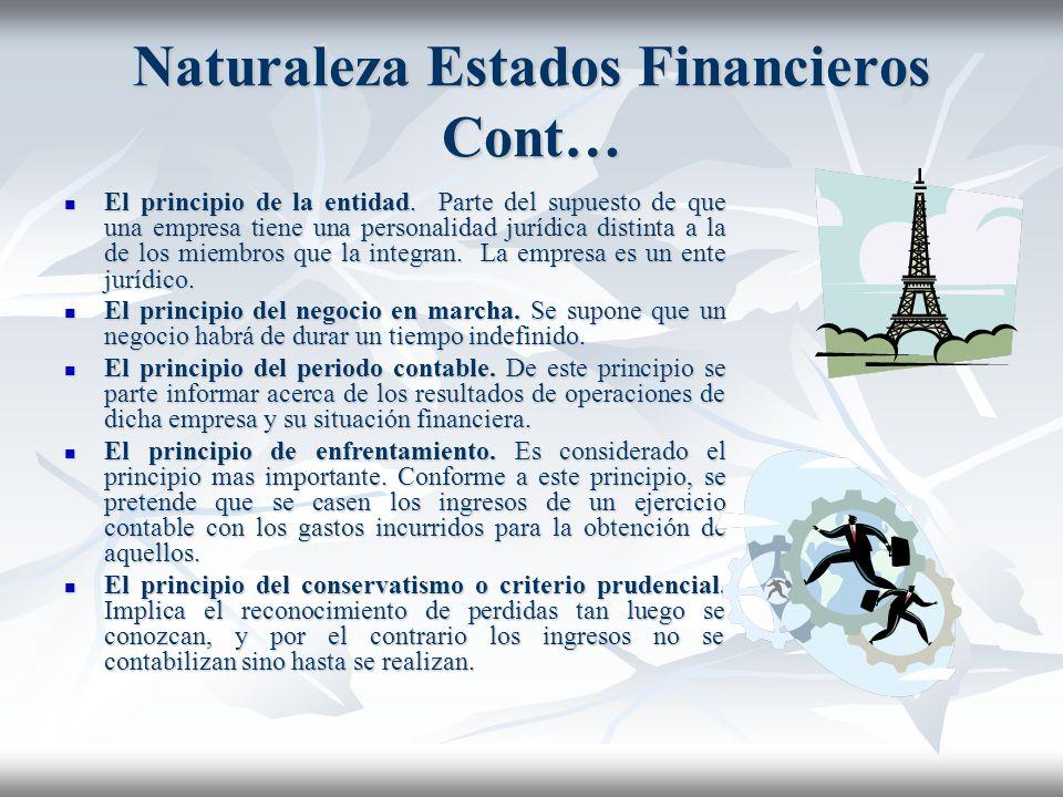 Naturaleza Estados Financieros Cont… CONVENCIONALISMO CONTABLE CONVENCIONALISMO CONTABLE Son mas conocidos como principios de contabilidad generalment