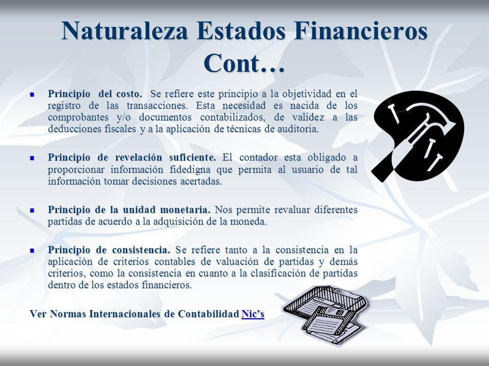Naturaleza Estados Financieros Cont… El principio de la entidad. Parte del supuesto de que una empresa tiene una personalidad jurídica distinta a la d