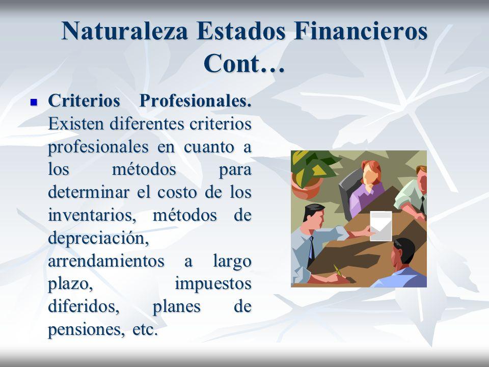 Naturaleza Estados Financieros Cont… Principio del costo. Se refiere este principio a la objetividad en el registro de las transacciones. Esta necesid