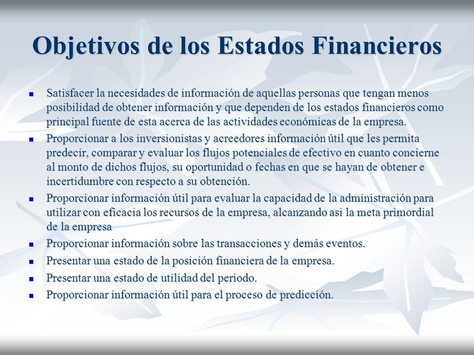Objetivos de los Estados Financieros Satisfacer la necesidades de información de aquellas personas que tengan menos posibilidad de obtener información y que dependen de los estados financieros como principal fuente de esta acerca de las actividades económicas de la empresa.