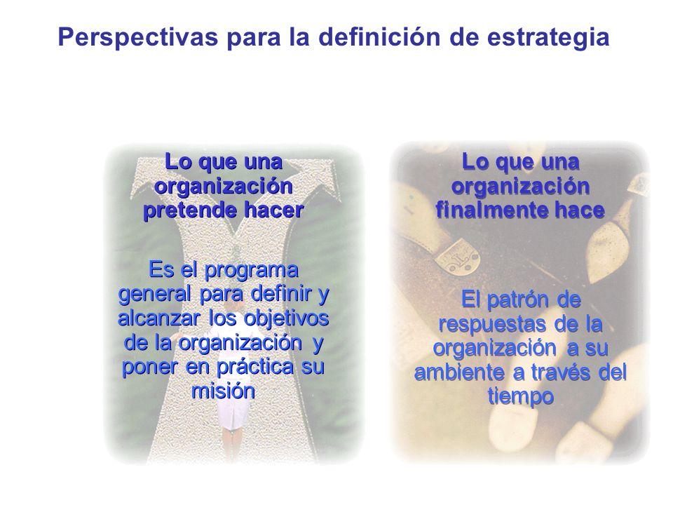 Perspectivas para la definición de estrategia Lo que una organización pretende hacer Es el programa general para definir y alcanzar los objetivos de l