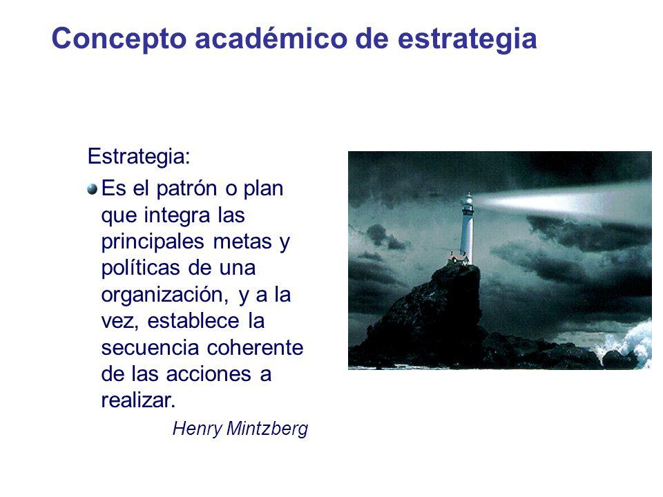 Concepto académico de estrategia Estrategia: Es el patrón o plan que integra las principales metas y políticas de una organización, y a la vez, establ