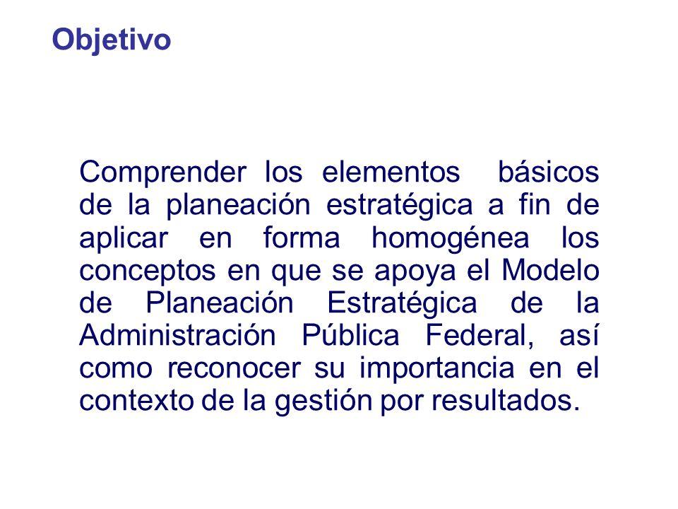Comprender los elementos básicos de la planeación estratégica a fin de aplicar en forma homogénea los conceptos en que se apoya el Modelo de Planeació