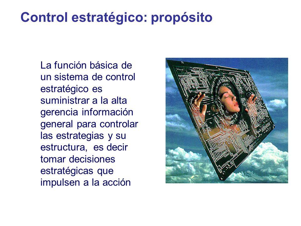 Control estratégico: propósito La función básica de un sistema de control estratégico es suministrar a la alta gerencia información general para contr