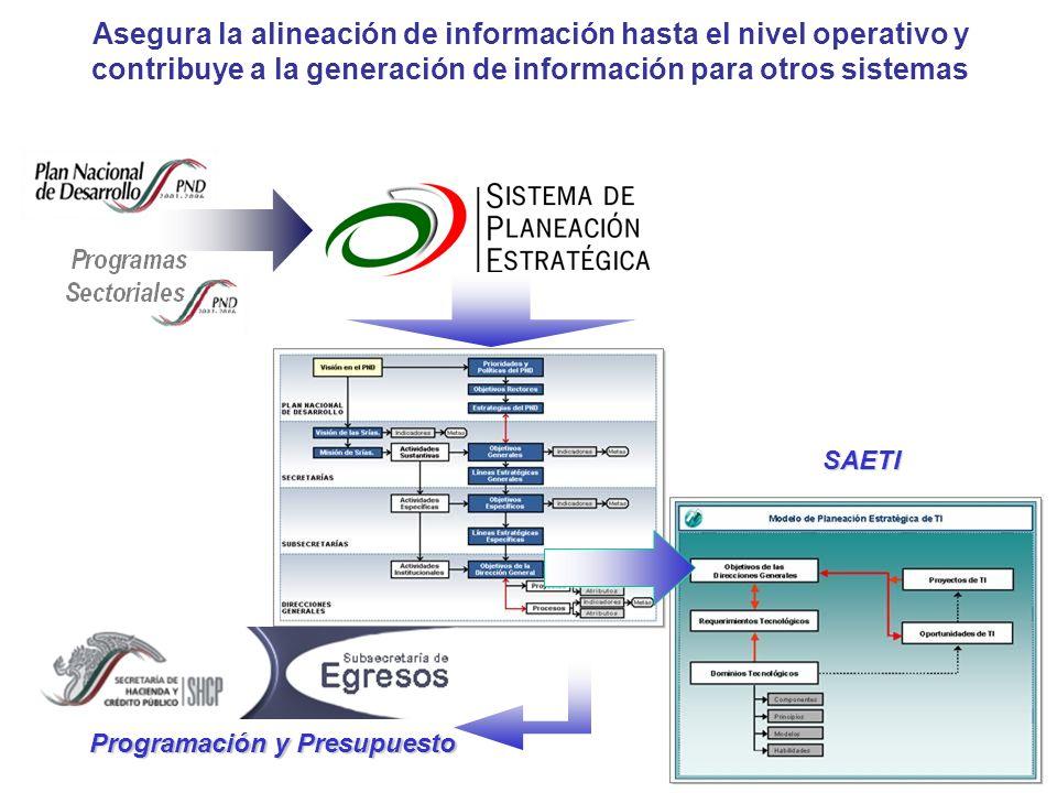 Asegura la alineación de información hasta el nivel operativo y contribuye a la generación de información para otros sistemas Programación y Presupues