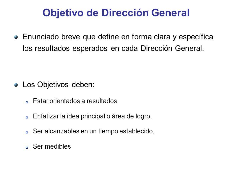 Objetivo de Dirección General Enunciado breve que define en forma clara y específica los resultados esperados en cada Dirección General. Los Objetivos