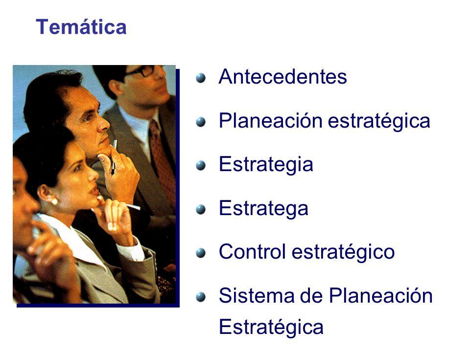 Temática Antecedentes Planeación estratégica Estrategia Estratega Control estratégico Sistema de Planeación Estratégica