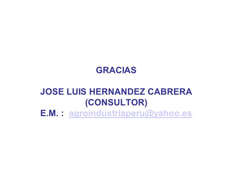 GRACIAS JOSE LUIS HERNANDEZ CABRERA (CONSULTOR) E.M. : agroindustriaperu@yahoo.esagroindustriaperu@yahoo.es