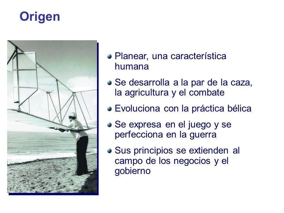 Origen Planear, una característica humana Se desarrolla a la par de la caza, la agricultura y el combate Evoluciona con la práctica bélica Se expresa