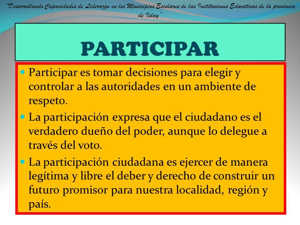 LA PARTICIPACIÓN ¿Cómo? Propuesta y ejecución de proyectos Para solucionar los problemas propios de su entorno Diálogo, Reflexión, Debate y Práctica d