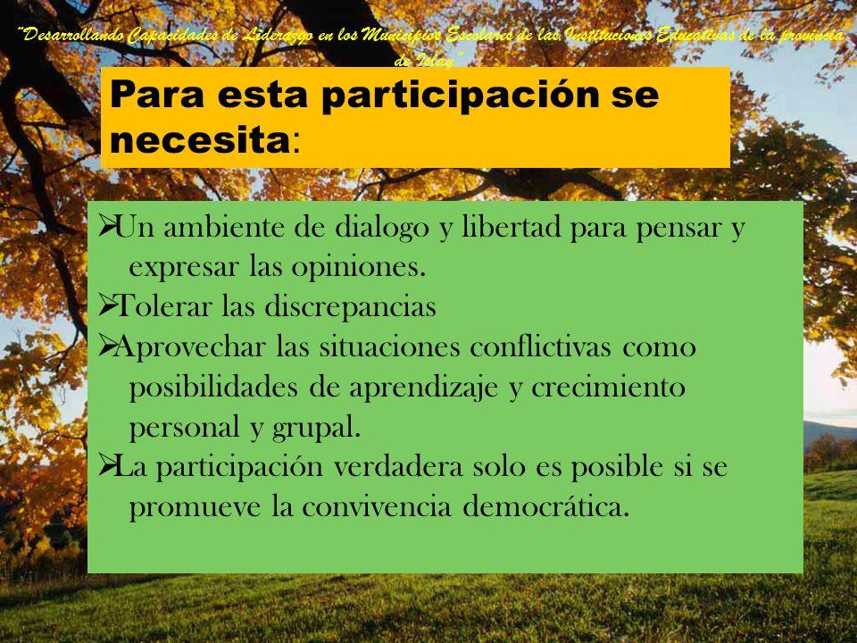 PARTICIPAR Participar es tomar decisiones para elegir y controlar a las autoridades en un ambiente de respeto. La participación expresa que el ciudada