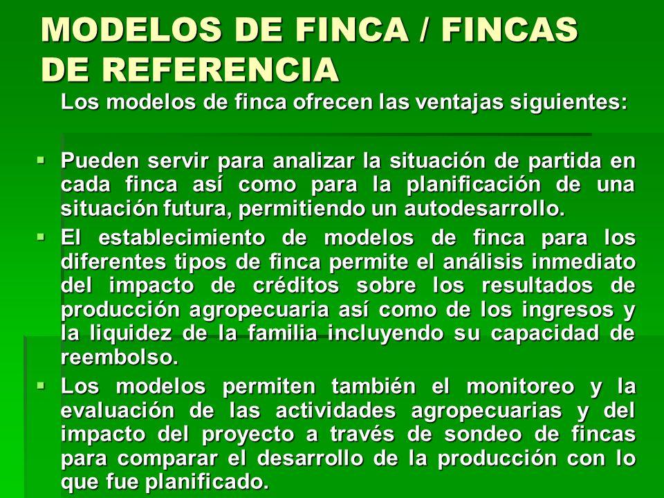 MODELOS DE FINCA / FINCAS DE REFERENCIA El modelo está basado en el concepto de sistema de finca por lo tanto, se supone que la familia y la empresa p
