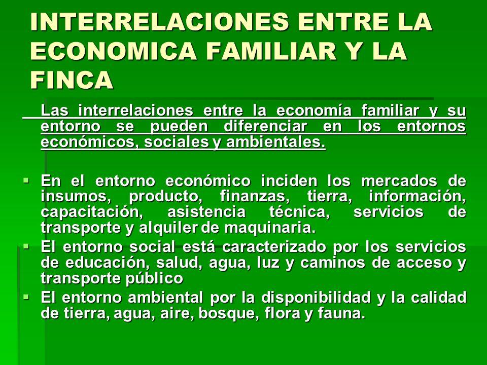 INTERRELACIONES ENTRE LA ECONOMICA FAMILIAR Y LA FINCA Las interrelaciones entre la economía familiar y su entorno se pueden diferenciar en los entornos económicos, sociales y ambientales.