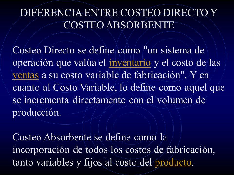 Costeo Directo Es un método de la contabilidad de costos que se basa en el análisis del comportamiento de los costos de producción y operación, para clasificarlos en costos fijos y en costos variables, con el objeto de proporcionar suficiente información relevante a la dirección de la empresa para su proceso de planeación estratégica.