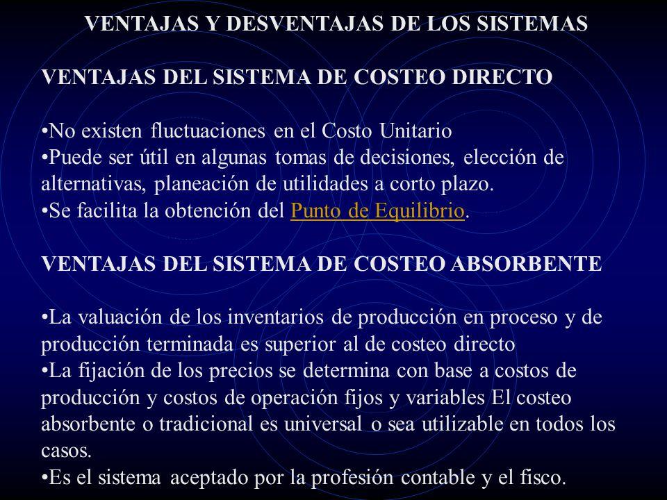 VENTAJAS Y DESVENTAJAS DE LOS SISTEMAS VENTAJAS DEL SISTEMA DE COSTEO DIRECTO No existen fluctuaciones en el Costo Unitario Puede ser útil en algunas