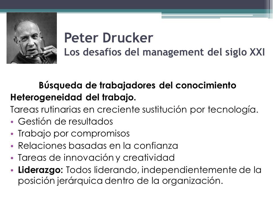 Peter Drucker Los desafíos del management del siglo XXI Búsqueda de trabajadores del conocimiento Heterogeneidad del trabajo. Tareas rutinarias en cre