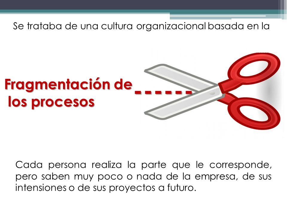 Fragmentación de los procesos los procesos Cada persona realiza la parte que le corresponde, pero saben muy poco o nada de la empresa, de sus intensio