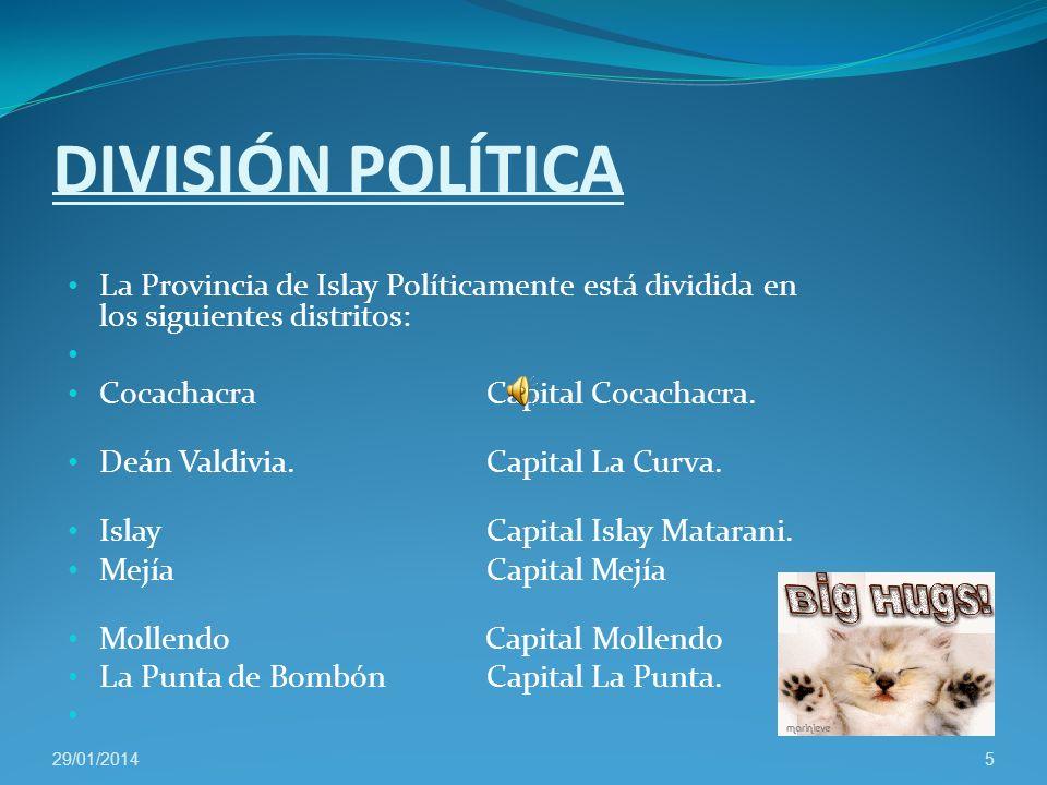 DIVISIÓN POLÍTICA La Provincia de Islay Políticamente está dividida en los siguientes distritos: CocachacraCapitalCocachacra.
