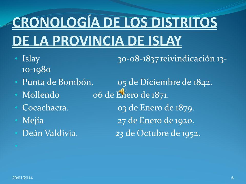 CRONOLOGÍA DE LOS DISTRITOS DE LA PROVINCIA DE ISLAY Islay 30-08-1837 reivindicación 13- 10-1980 Punta de Bombón.