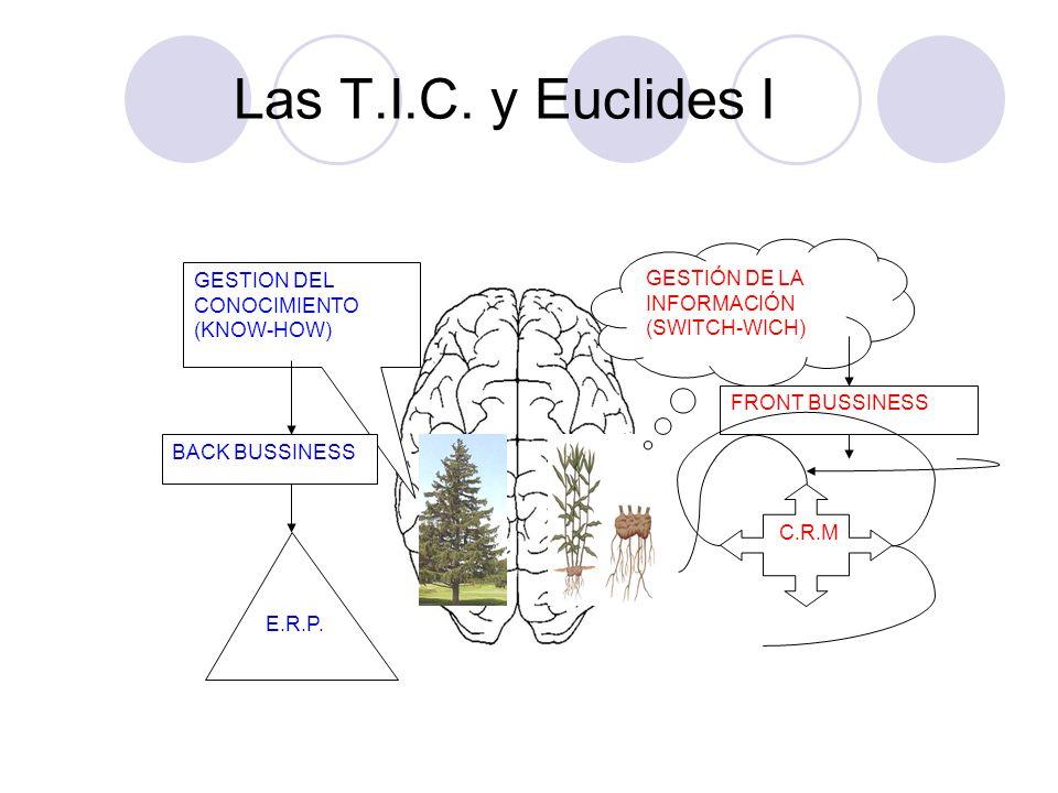 Las T.I.C. y Euclides I GESTION DEL CONOCIMIENTO (KNOW-HOW) GESTIÓN DE LA INFORMACIÓN (SWITCH-WICH) C.R.M FRONT BUSSINESS E.R.P. BACK BUSSINESS