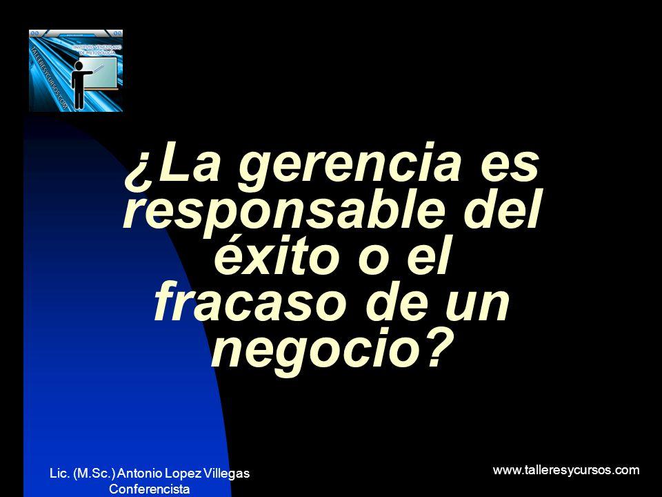 Lic. (M.Sc.) Antonio Lopez Villegas Conferencista www.talleresycursos.com ¿SE NECESITA DE LA GERENCIA?
