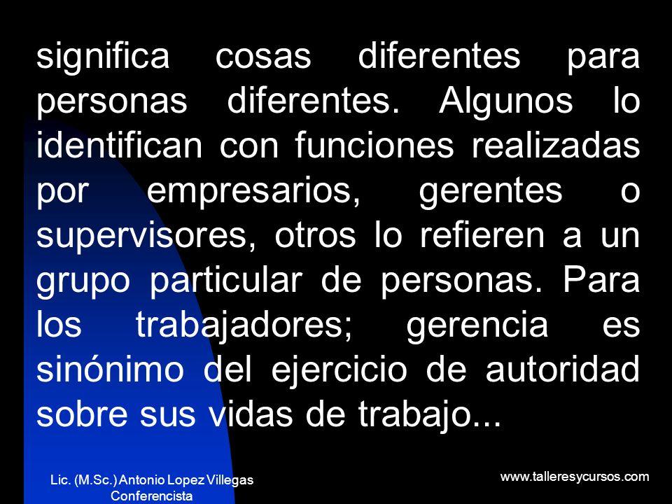 Lic. (M.Sc.) Antonio Lopez Villegas Conferencista www.talleresycursos.com ¿La gerencia es responsable del éxito o el fracaso de un negocio?